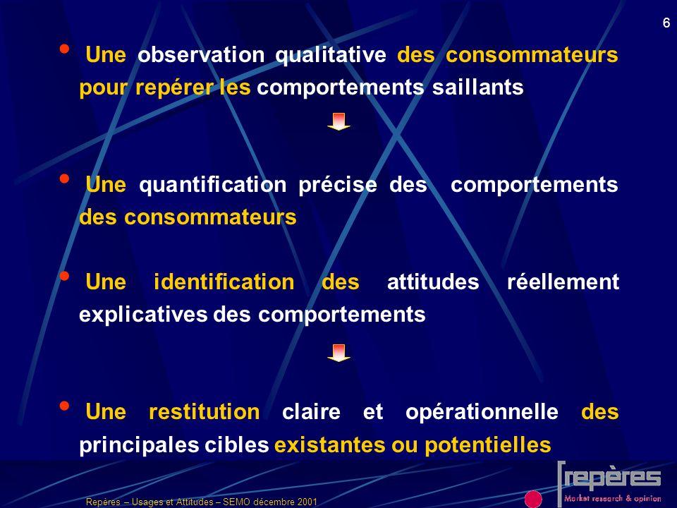 Repères – Usages et Attitudes – SEMO décembre 2001 7 2 approches méthodologiques complémentaires QualitativeQuantitative Avec une analyse globale de l étude intégrant les 2 phases et