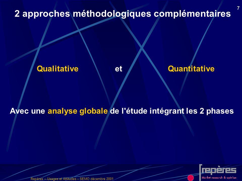 Repères – Usages et Attitudes – SEMO décembre 2001 7 2 approches méthodologiques complémentaires QualitativeQuantitative Avec une analyse globale de l