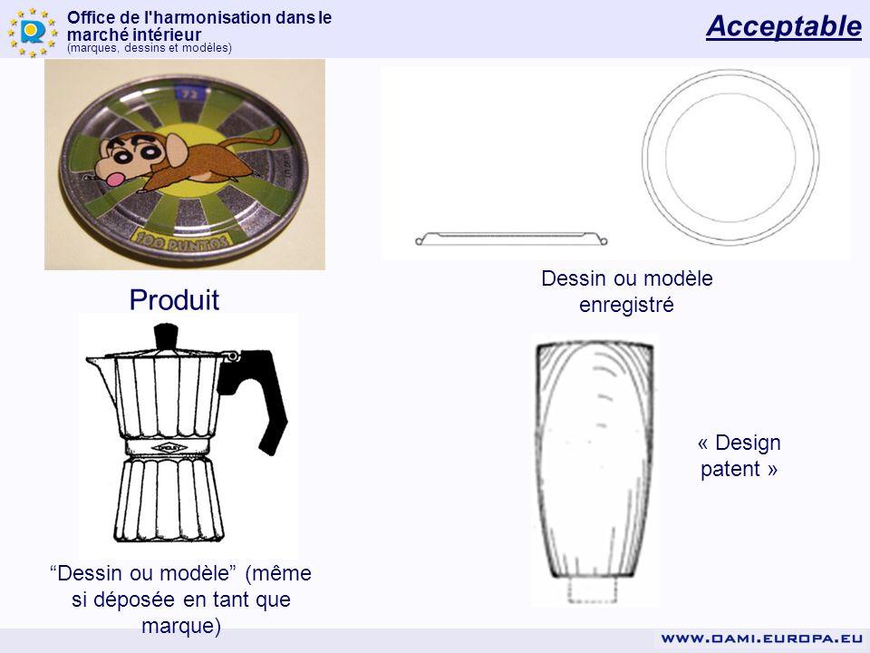 Office de l'harmonisation dans le marché intérieur (marques, dessins et modèles) Produit Dessin ou modèle enregistré Dessin ou modèle (même si déposée