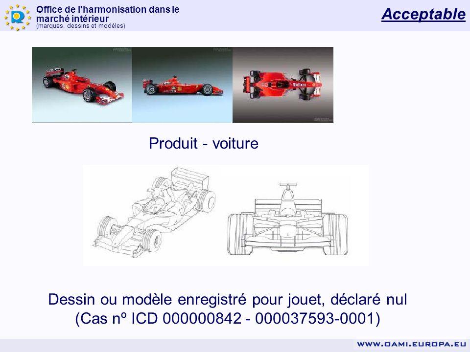 Office de l'harmonisation dans le marché intérieur (marques, dessins et modèles) Produit - voiture Dessin ou modèle enregistré pour jouet, déclaré nul