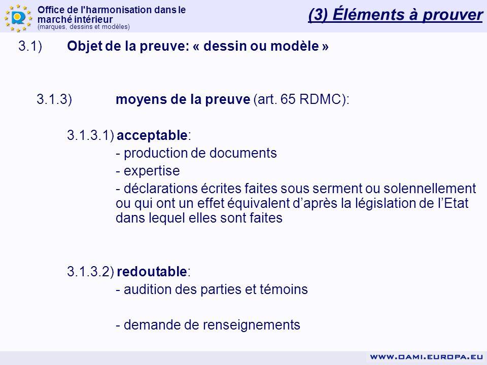 Office de l'harmonisation dans le marché intérieur (marques, dessins et modèles) 3.1)Objet de la preuve: « dessin ou modèle » 3.1.3)moyens de la preuv