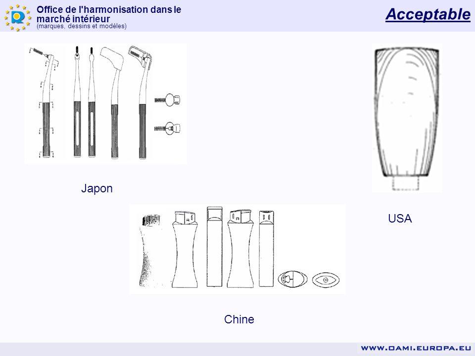 Office de l'harmonisation dans le marché intérieur (marques, dessins et modèles) Acceptable USA Japon Chine