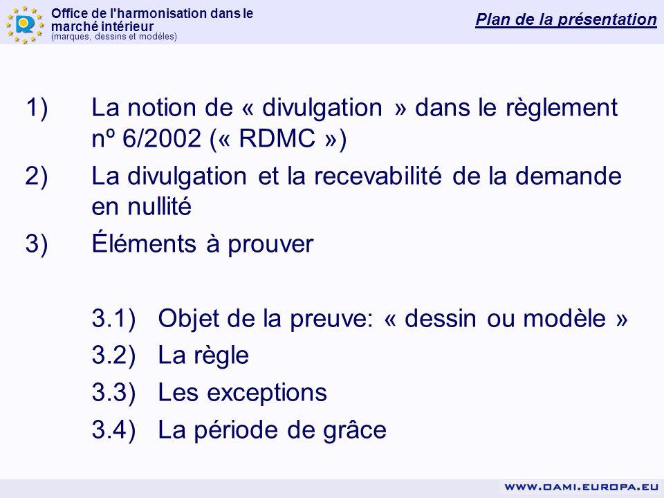 Office de l'harmonisation dans le marché intérieur (marques, dessins et modèles) Plan de la présentation 1)La notion de « divulgation » dans le règlem