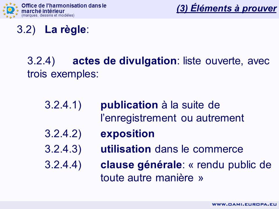 Office de l'harmonisation dans le marché intérieur (marques, dessins et modèles) 3.2)La règle: 3.2.4)actes de divulgation: liste ouverte, avec trois e