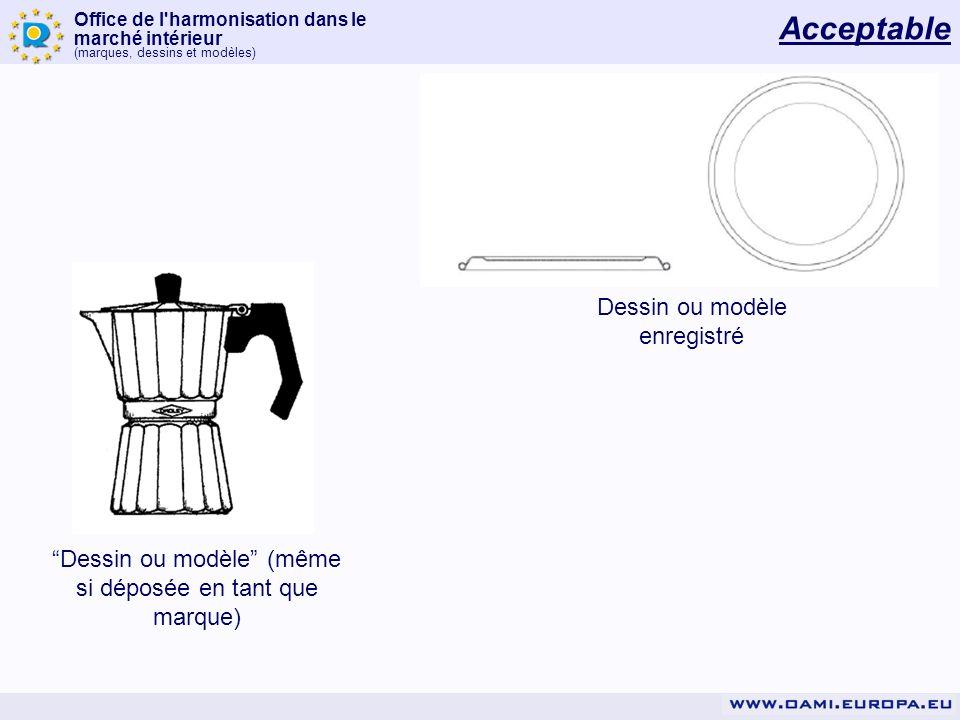 Office de l'harmonisation dans le marché intérieur (marques, dessins et modèles) Dessin ou modèle enregistré Dessin ou modèle (même si déposée en tant