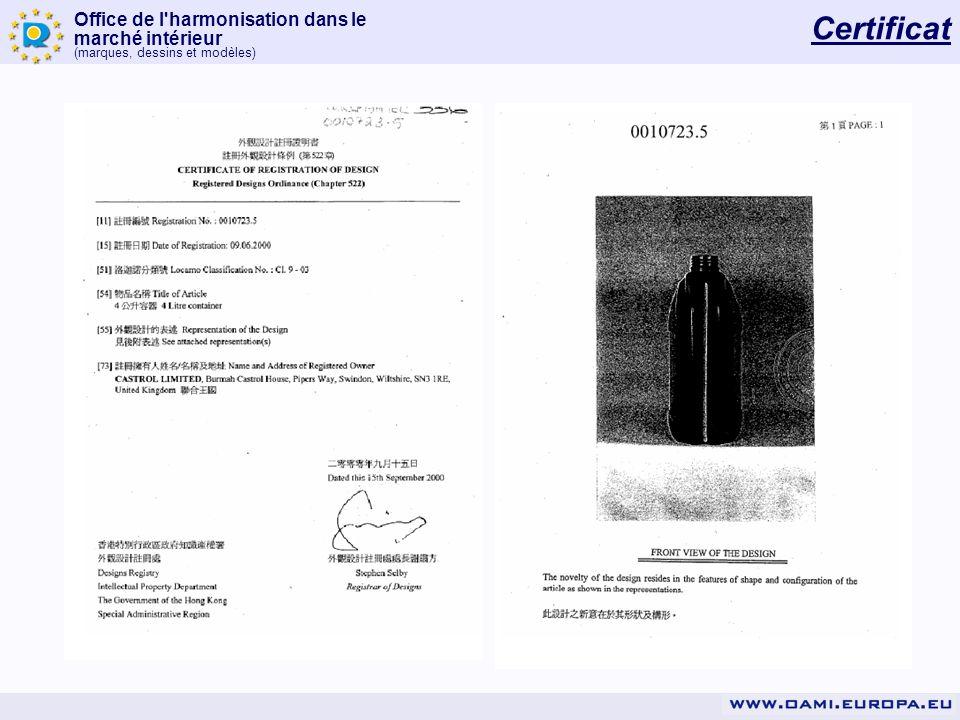 Office de l'harmonisation dans le marché intérieur (marques, dessins et modèles) Certificat