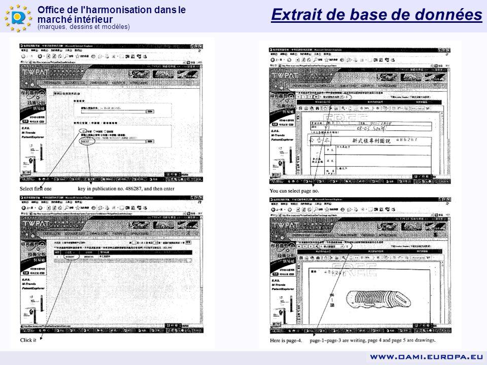 Office de l'harmonisation dans le marché intérieur (marques, dessins et modèles) Extrait de base de données