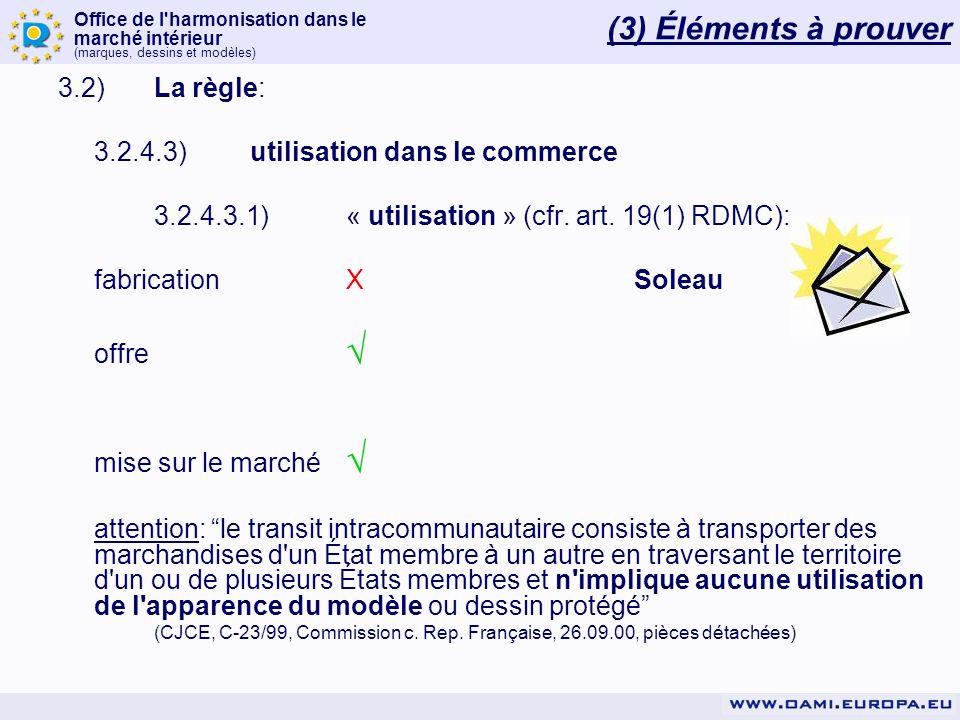 Office de l'harmonisation dans le marché intérieur (marques, dessins et modèles) 3.2)La règle: 3.2.4.3)utilisation dans le commerce 3.2.4.3.1)« utilis