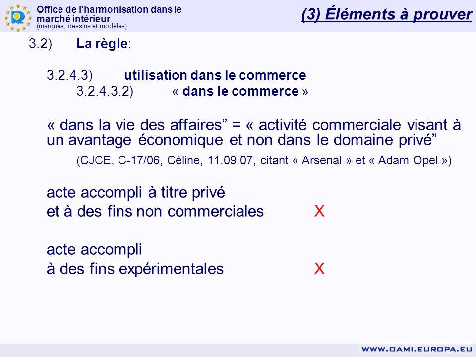 Office de l'harmonisation dans le marché intérieur (marques, dessins et modèles) 3.2)La règle: 3.2.4.3)utilisation dans le commerce 3.2.4.3.2)« dans l