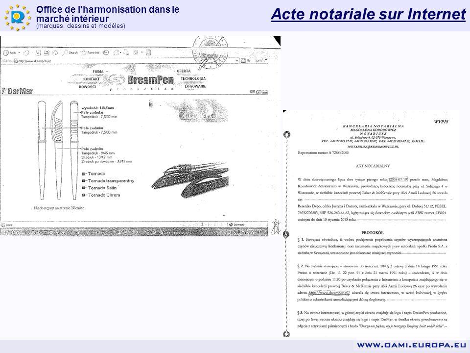 Office de l'harmonisation dans le marché intérieur (marques, dessins et modèles) Acte notariale sur Internet