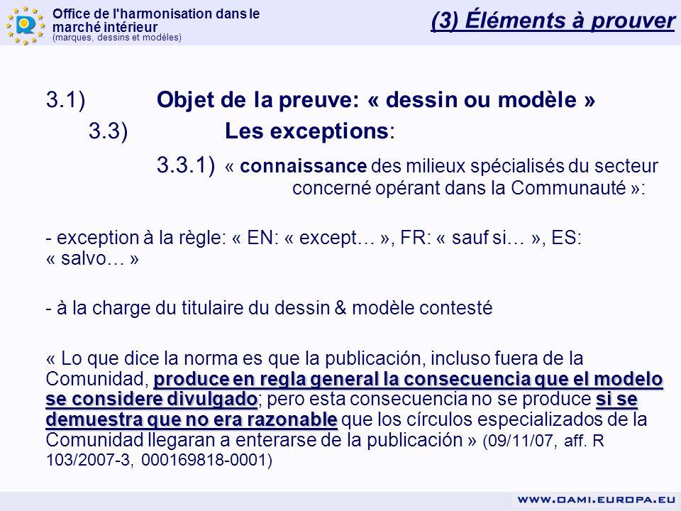 Office de l'harmonisation dans le marché intérieur (marques, dessins et modèles) (3) Éléments à prouver 3.1)Objet de la preuve: « dessin ou modèle » 3