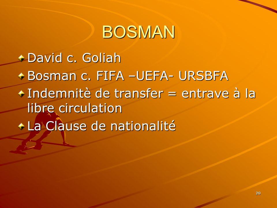 20 BOSMAN David c. Goliah Bosman c. FIFA –UEFA- URSBFA Indemnitè de transfer = entrave à la libre circulation La Clause de nationalité