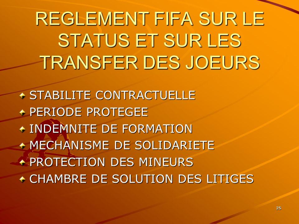 25 REGLEMENT FIFA SUR LE STATUS ET SUR LES TRANSFER DES JOEURS STABILITE CONTRACTUELLE PERIODE PROTEGEE INDEMNITE DE FORMATION MECHANISME DE SOLIDARIE
