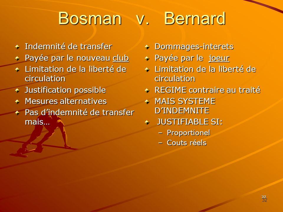32 Bosman v. Bernard Indemnité de transfer Payée par le nouveau club Limitation de la liberté de circulation Justification possible Mesures alternativ