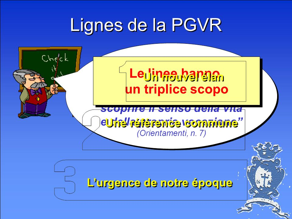 Lignes de la PGVR Premessa la Pastorale Giovanile è luogo adeguato per scoprire il senso della vita e della propria vocazione (Orientamenti, n.