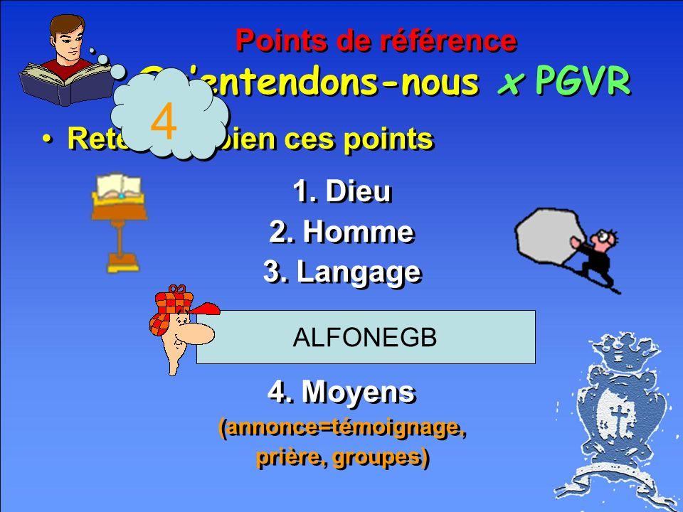 Points de référence Quentendons-nous x PGVR Retenons bien ces points 1.