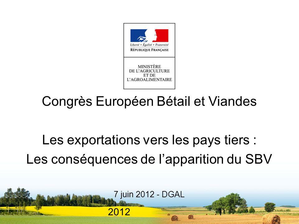 20121 Congrès Européen Bétail et Viandes Les exportations vers les pays tiers : Les conséquences de lapparition du SBV 7 juin 2012 - DGAL