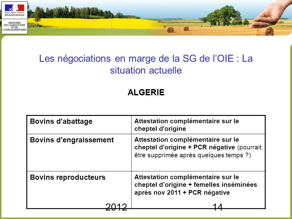 201214 ALGERIE Les négociations en marge de la SG de lOIE : La situation actuelle ALGERIE Bovins d'abattage Attestation complémentaire sur le cheptel