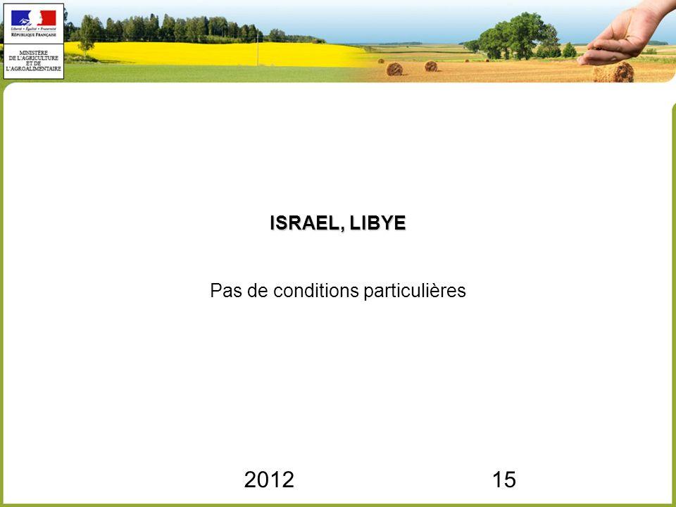 201215 ISRAEL, LIBYE ISRAEL, LIBYE Pas de conditions particulières