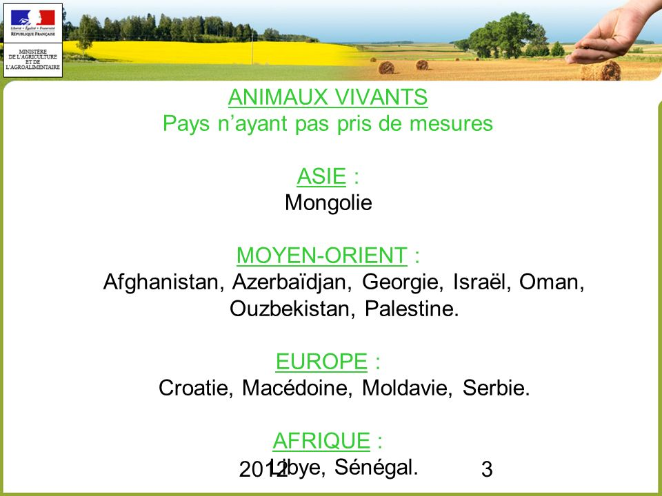 20123 ANIMAUX VIVANTS Pays nayant pas pris de mesures ASIE : Mongolie MOYEN-ORIENT : Afghanistan, Azerbaïdjan, Georgie, Israël, Oman, Ouzbekistan, Pal