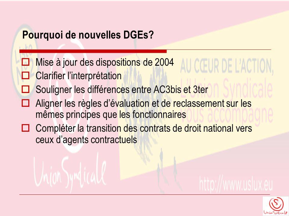 Link vers intranet Commission: Présentation sommaire des nouvelles DGEs du 2 mars 2011