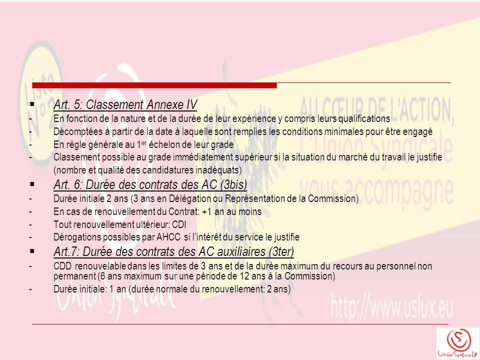 Art. 5: Classement Annexe IV - En fonction de la nature et de la durée de leur expérience y compris leurs qualifications -Décomptées à partir de la da