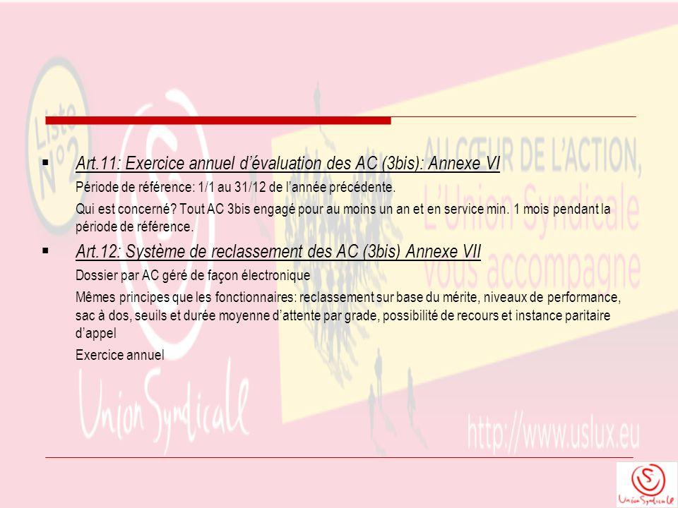 Art.11: Exercice annuel dévaluation des AC (3bis): Annexe VI Période de référence: 1/1 au 31/12 de lannée précédente. Qui est concerné? Tout AC 3bis e