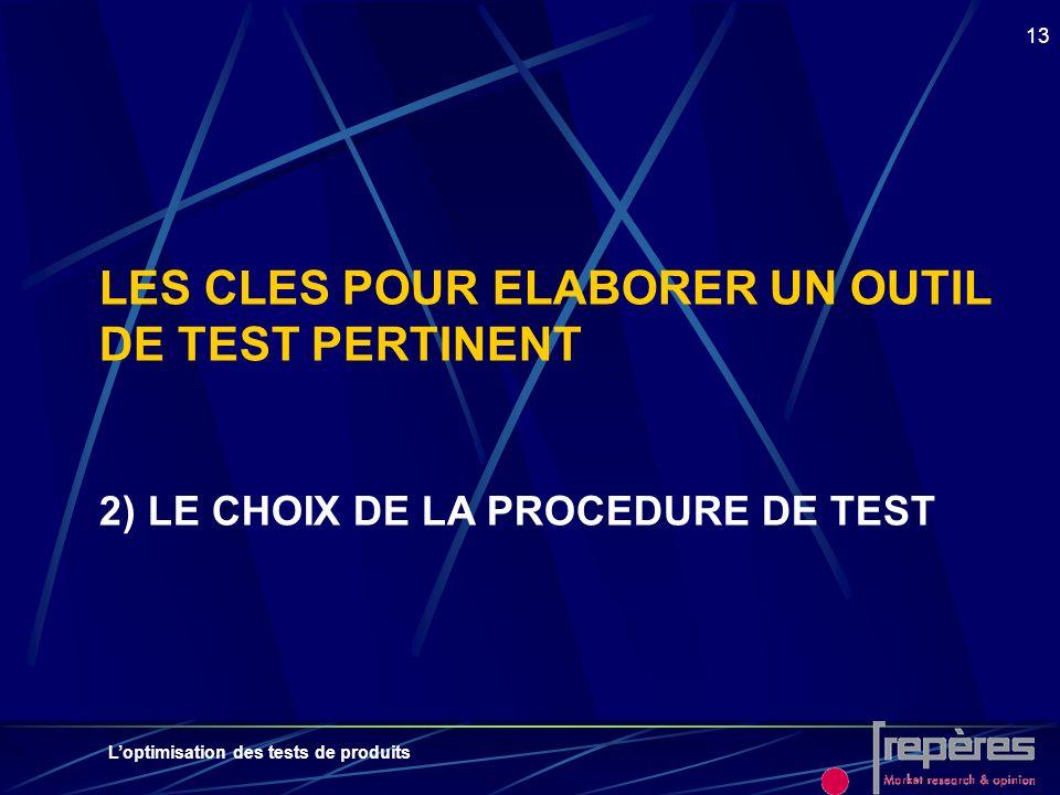 Loptimisation des tests de produits 13 LES CLES POUR ELABORER UN OUTIL DE TEST PERTINENT 2) LE CHOIX DE LA PROCEDURE DE TEST