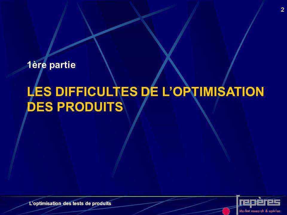 Loptimisation des tests de produits 2 1ère partie LES DIFFICULTES DE LOPTIMISATION DES PRODUITS