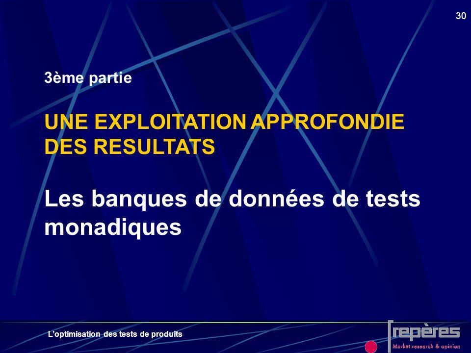 Loptimisation des tests de produits 30 3ème partie UNE EXPLOITATION APPROFONDIE DES RESULTATS Les banques de données de tests monadiques