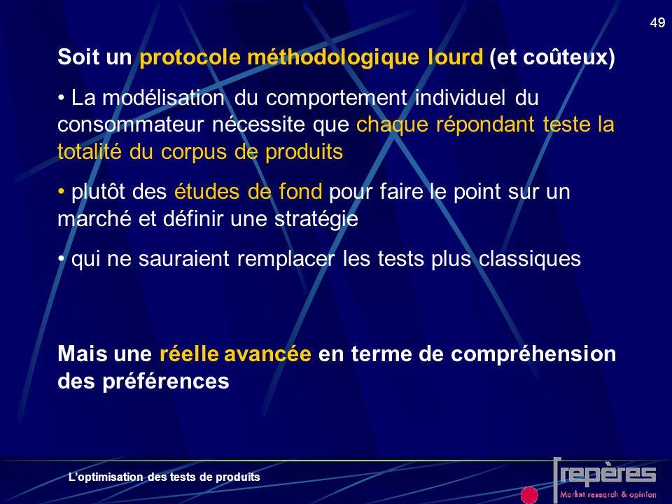 Loptimisation des tests de produits 49 Soit un protocole méthodologique lourd (et coûteux) La modélisation du comportement individuel du consommateur