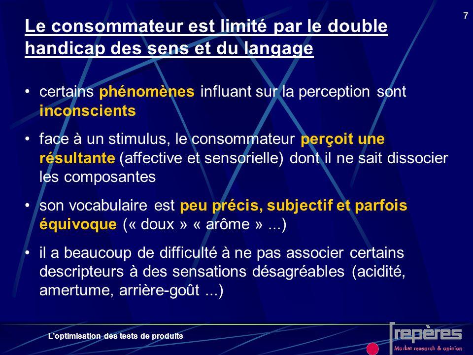 Loptimisation des tests de produits 7 Le consommateur est limité par le double handicap des sens et du langage certains phénomènes influant sur la per