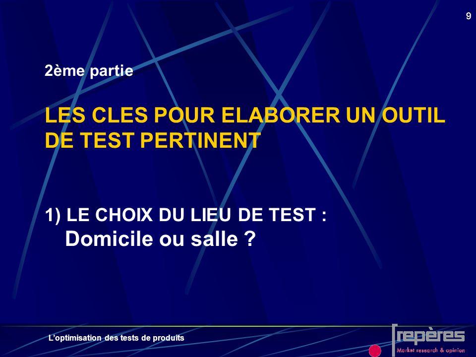 Loptimisation des tests de produits 9 2ème partie LES CLES POUR ELABORER UN OUTIL DE TEST PERTINENT 1) LE CHOIX DU LIEU DE TEST : Domicile ou salle ?