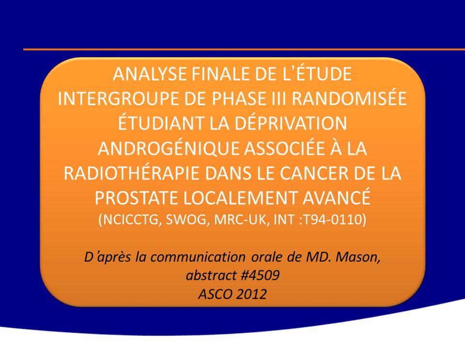 Déprivation androgénique + Radiothérapie Dessin de létude T3/T4N0/NX Ou T2 et PSA > 40µg/l Ou T2 et PSA > 20 µg/l et GS 8-10 T3/T4N0/NX Ou T2 et PSA > 40µg/l Ou T2 et PSA > 20 µg/l et GS 8-10 Déprivation androgénique continue Orchidectomie bilatérale ou agoniste de la LH-RH (avec un anti-androgène pendant 2 semaines, avec la possibilité de le poursuivre en option) Déprivation androgénique continue Orchidectomie bilatérale ou agoniste de la LH-RH (avec un anti-androgène pendant 2 semaines, avec la possibilité de le poursuivre en option) Déprivation androgénique continue + Radiothérapie 45 Gy/ 25 fractions en 5 semaines sur le pelvis Plus 20-24 Gy/ 10-12 fractions en 2-2,5 semaines sur la prostate Ou en cas de radiothérapie localisée de la prostate : 65-69 Gy/35- 37 fractions en 7-7,5 semaines.