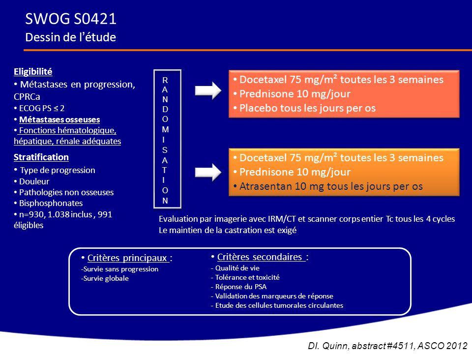 SWOG S0421 Dessin de létude Eligibilité Métastases en progression, CPRCa ECOG PS 2 Métastases osseuses Fonctions hématologique, hépatique, rénale adéq