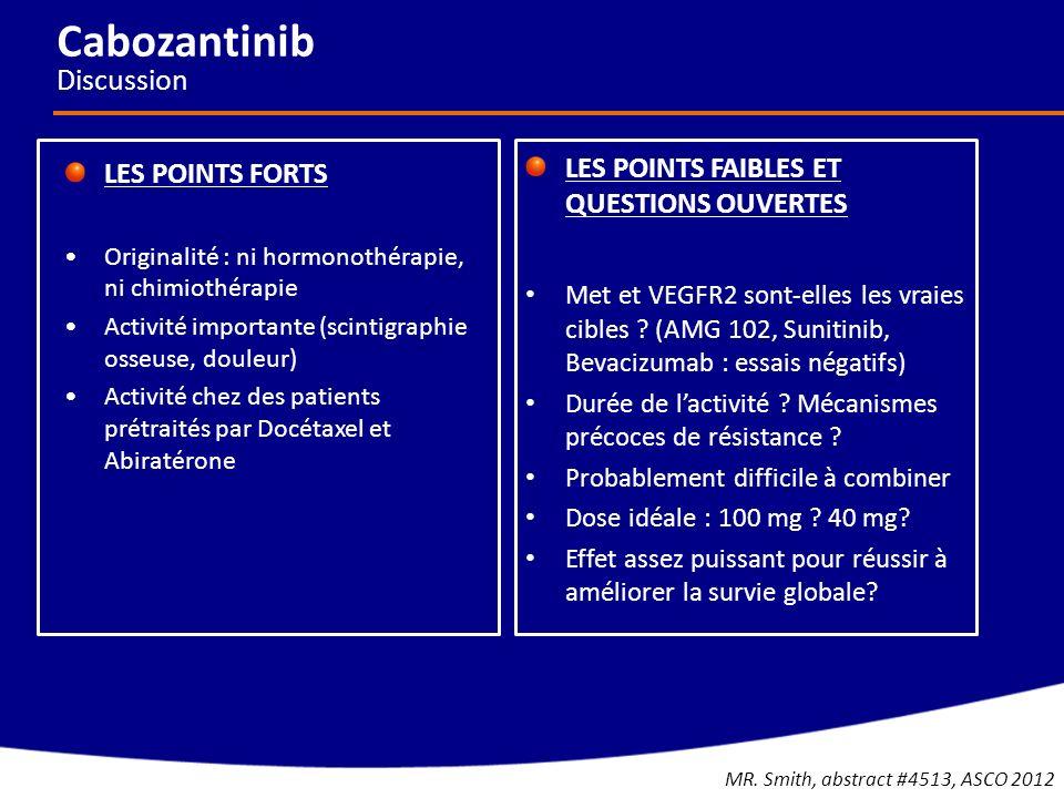 Cabozantinib Discussion LES POINTS FORTS Originalité : ni hormonothérapie, ni chimiothérapie Activité importante (scintigraphie osseuse, douleur) Acti