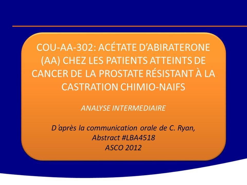 COU-AA-302: ACÉTATE DABIRATERONE (AA) CHEZ LES PATIENTS ATTEINTS DE CANCER DE LA PROSTATE RÉSISTANT À LA CASTRATION CHIMIO-NAIFS ANALYSE INTERMEDIAIRE