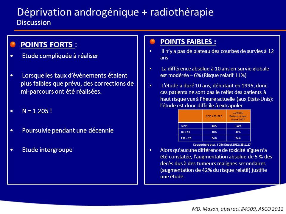Abiraterone + Prednisone (n = 542) % Placebo + Prednisone (n = 540) % Tous gradesGrades 3/4Tous gradesGrades 3/4 Fatigue392342 Rétention hydrique280,7241,7 Hypokaliémie172132 Hypertension224133 Troubles cardiaques196163 Fibrillation auriculaire41,350,9 Augmentation ALT125,450,8 Augmentation AST113,050,9 La plupart des augmentations des ALT et AST sont survenues pendant les 3 premiers mois du traitement COU-AA-302 Effets indésirables C.