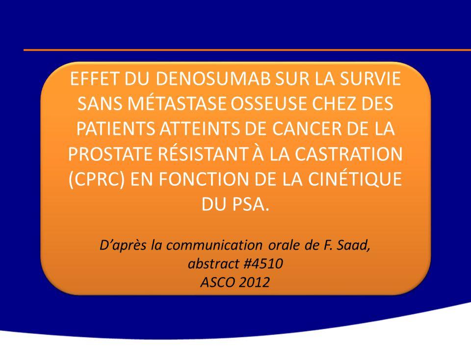 SWOG 9343 Dessin de létude Début du recrutement (3.040 patients) Cancer de la prostate métastatique nouvellement diagnostiqué avec PSA 5 ng/ml Début du recrutement (3.040 patients) Cancer de la prostate métastatique nouvellement diagnostiqué avec PSA 5 ng/ml Induction de la déprivation androgénique: Goséréline + Bicalutamide x 7 mois Si PSA 4 ng/ml les mois 6 & 7 (1.535 patients) Déprivation androgénique continue (CAD) (770 patients) Déprivation androgénique intermittente (IAD) (765 patients) PSA mensuel, Reprise de la déprivation androgénique si nécessaire ETAPE 1 ETAPE 2 Randomisation ETAPE 2 Randomisation Ouverture: 15/05/1995, fermeture: 1/09/2008 Objectif principal: - Déterminer si la survie avec lIAD est non inférieure à celle avec la CAD.