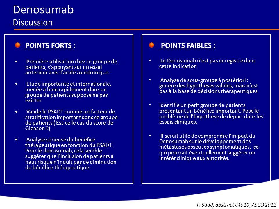 LES POINTS FORTS -Grande étude de phase III -Etude dune population de patients habituellement exclue des essais (patients non éligibes au Docétaxel) -Résultats positifs pour la survie globale, et les événements osseux -Excellente tolérance globale LES POINTS FAIBLES -Manque dactivité sur les métastases non osseuses -Discordance frappante entre PSA et survie globale -Faisabilité/activité de la chimiothérapie post Radium-223.