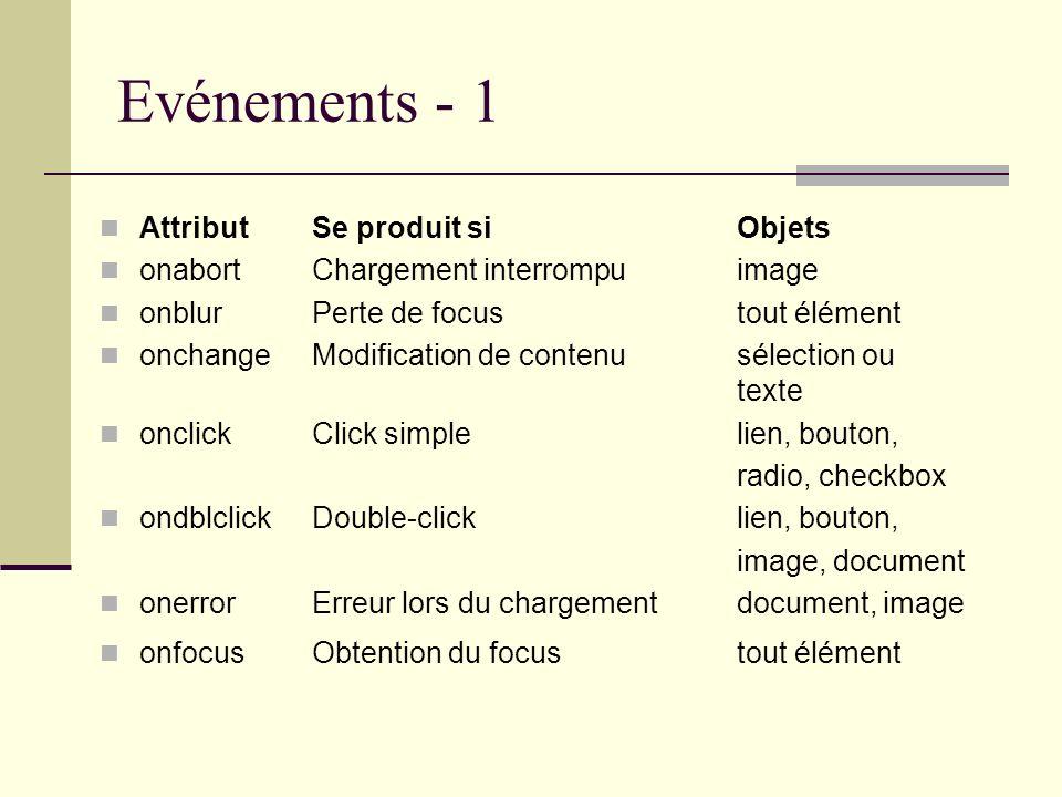 Evénements - 1 AttributSe produit si Objets onabortChargement interrompu image onblurPerte de focus tout élément onchangeModification de contenu sélec