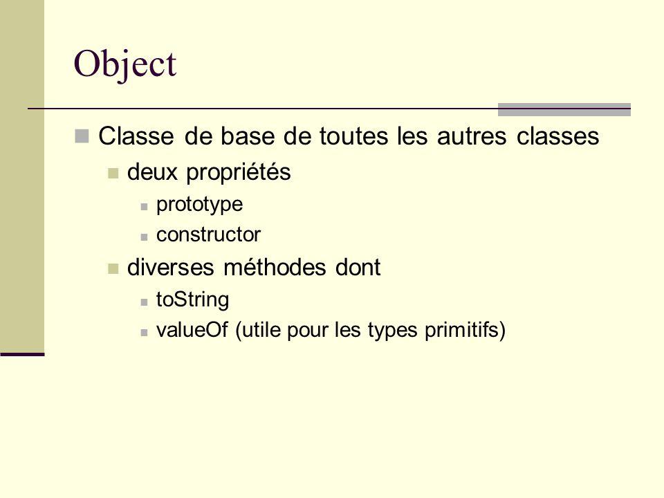 Object Classe de base de toutes les autres classes deux propriétés prototype constructor diverses méthodes dont toString valueOf (utile pour les types