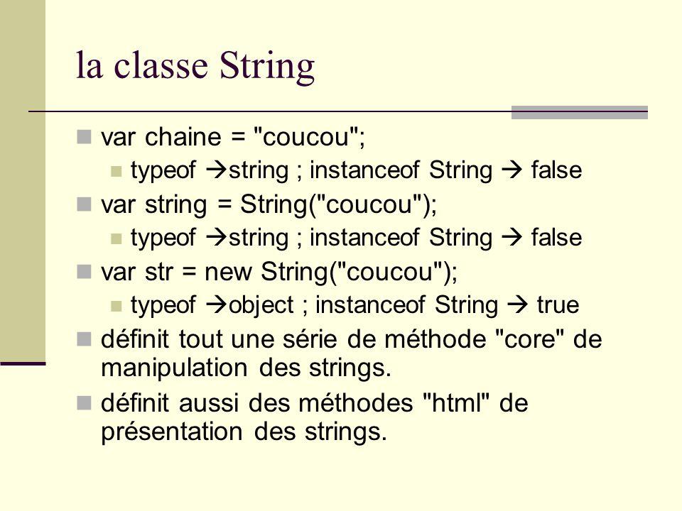 la classe String var chaine =