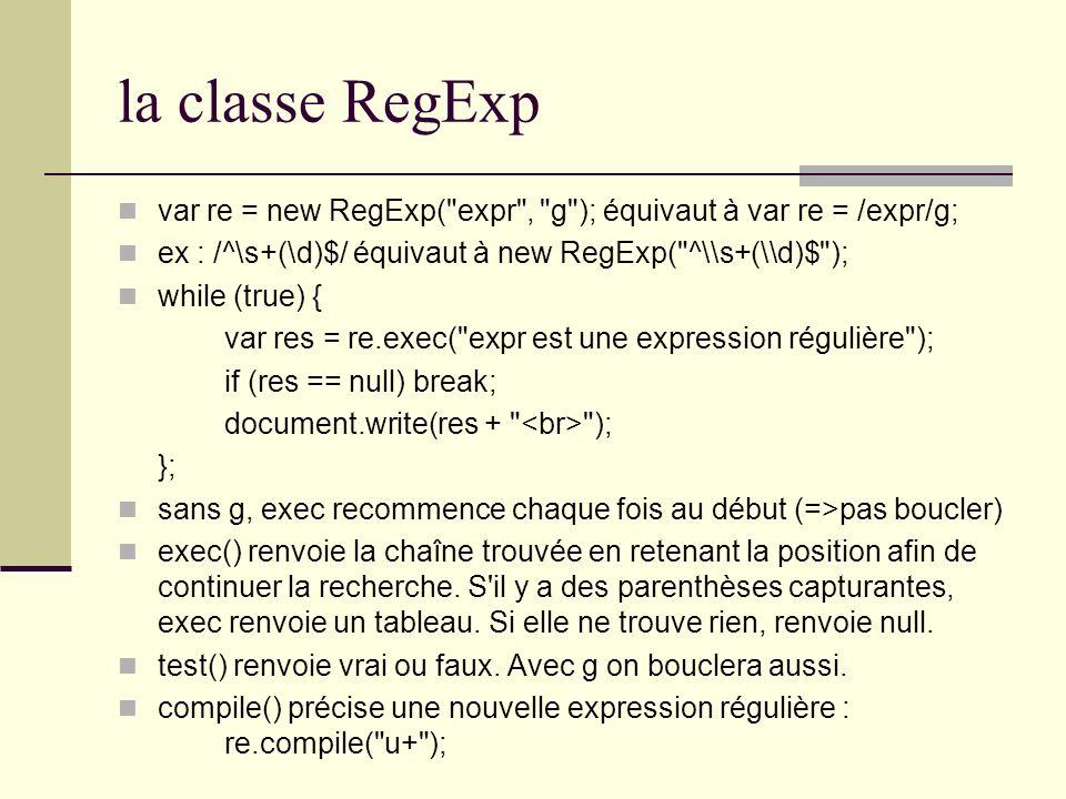 la classe RegExp var re = new RegExp(