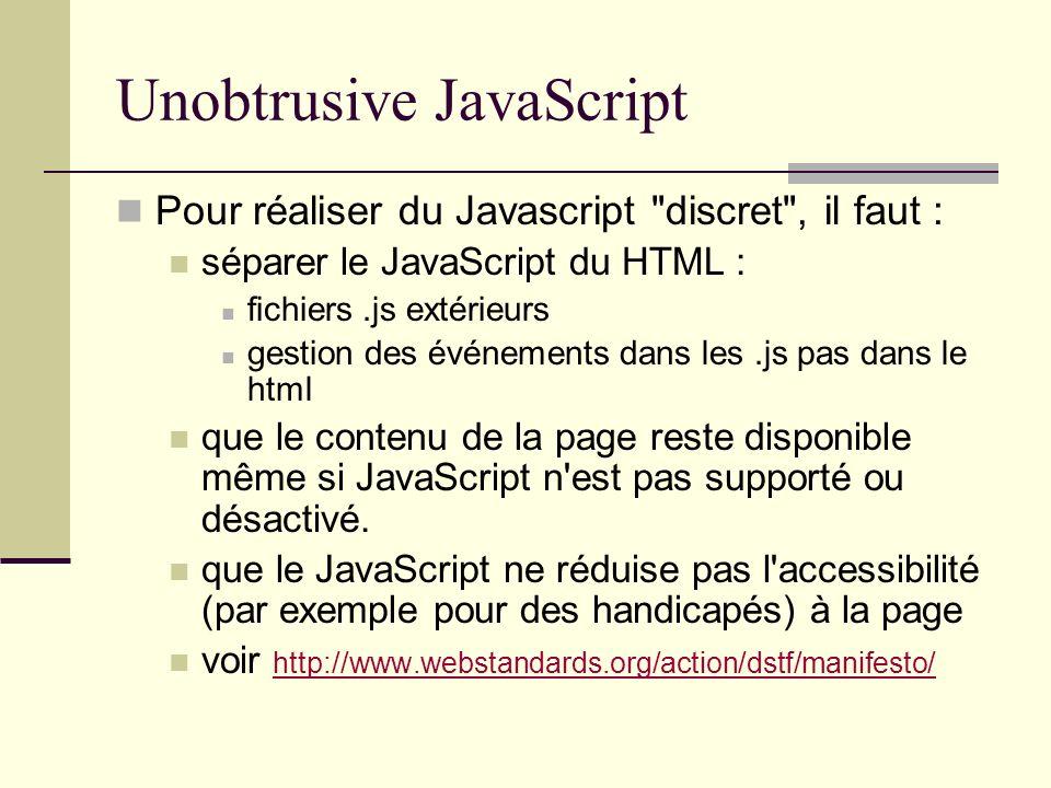 Unobtrusive JavaScript Pour réaliser du Javascript