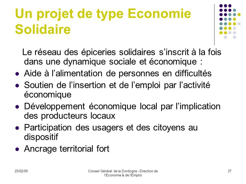 25/02/09Conseil Général de la Dordogne - Direction de l Economie & de l Emploi 38 Mots clé Développement local Qualité Mixité Solidarité Insertion Citoyenneté Economie Responsabilité Circuit-court Territoire
