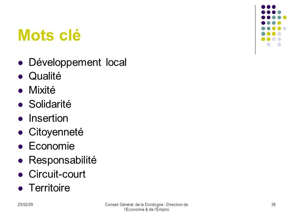 25/02/09Conseil Général de la Dordogne - Direction de l'Economie & de l'Emploi 38 Mots clé Développement local Qualité Mixité Solidarité Insertion Cit