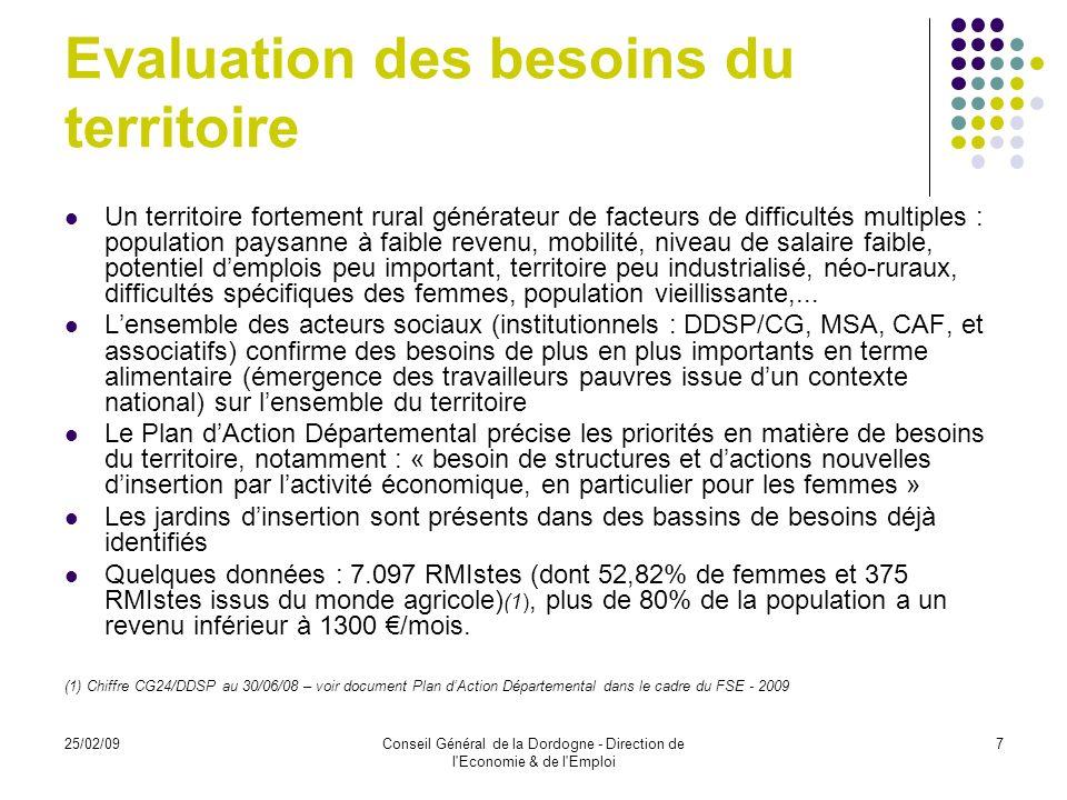25/02/09Conseil Général de la Dordogne - Direction de l Economie & de l Emploi 8 Etude de marché Une étude de marché (1) au plan national a été confiée à des étudiants de lI.U.T.