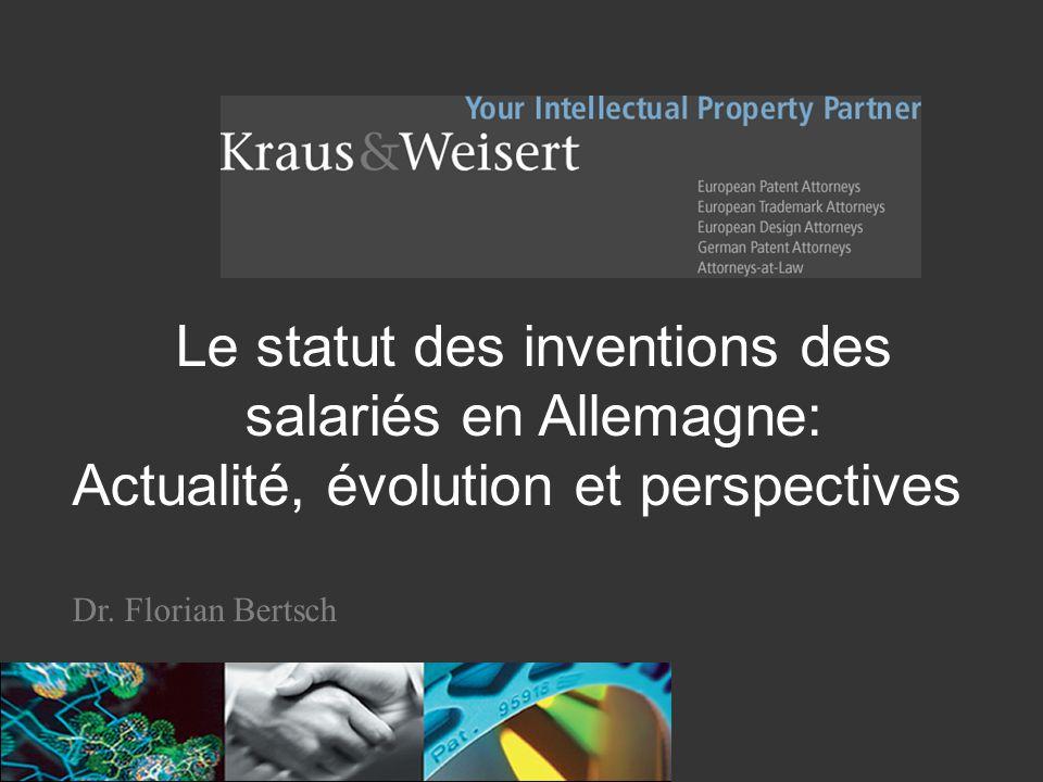 La contrefaçon de brevet: comparaison des systèmes français et allemand F. Bertsch Le statut des inventions des salariés en Allemagne: Actualité, évol