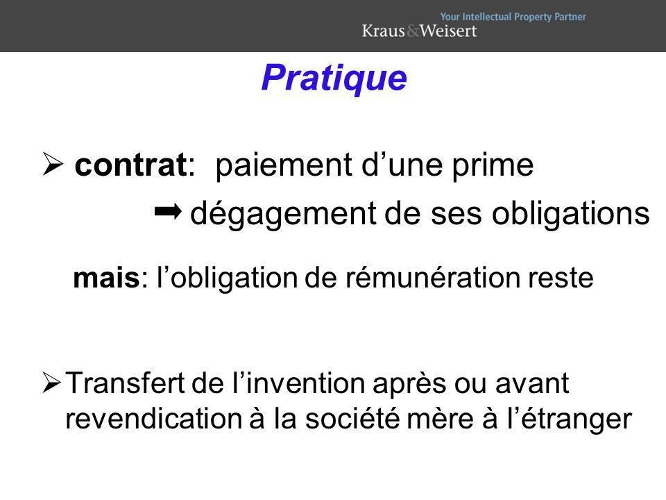 contrat: paiement dune prime dégagement de ses obligations mais: lobligation de rémunération reste Transfert de linvention après ou avant revendicatio